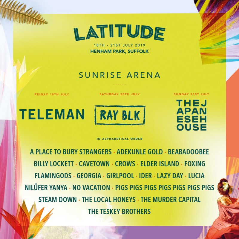 Teleman, RAY BLK and The Japanese House are your 2019 Sunrise Arena headliners!!