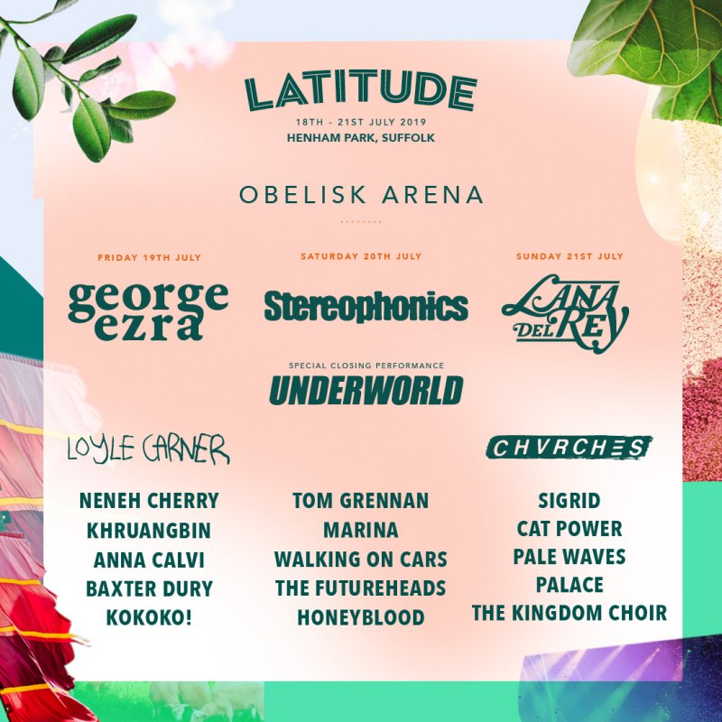 This is the description for the obelisk arena - And your headliners are.... Friday: George Ezra | Saturday: Stereophonics | Sunday: Lana Del Rey and with a special closing performance it's Underworld